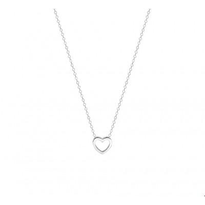 Zilveren hart ketting 1mm 36-40 cm gerhodineerd
