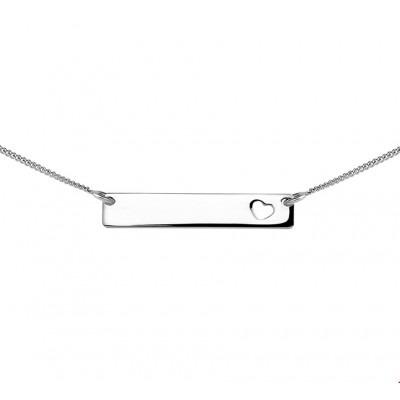 Zilveren hartjes ketting graveerbaar plaatje 47 cm