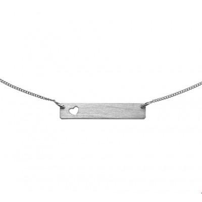Zilveren matte hartjes ketting graveerbaar 47 cm