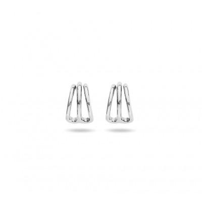 Zilveren oorringen drie rijen