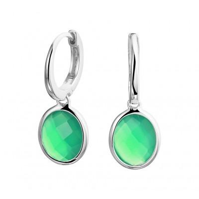Zilveren oorringen met hanger groen agaat