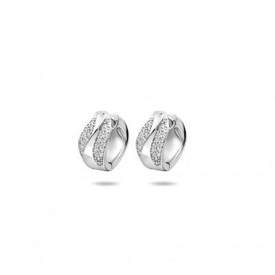Zilveren oorringen met twee rijen zirkonias