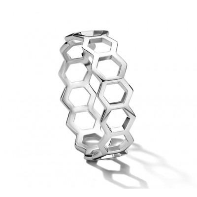 Zilveren ring diverse zeshoeken