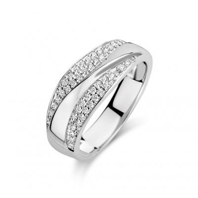 Zilveren ring met twee rijen zirkonias