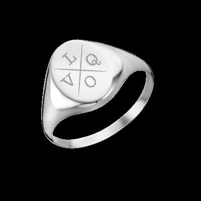 Zilveren zegelring met vier initialen