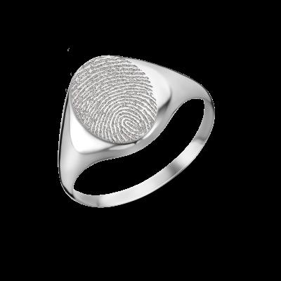 Zilveren zegelring ovaal met vingerafdruk