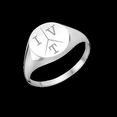 Zilveren zegelring rond met drie initialen