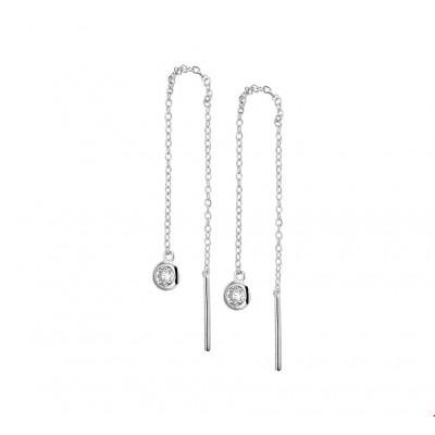Zirkonia Doortrekoorbellen van zilver 90 mm hoog