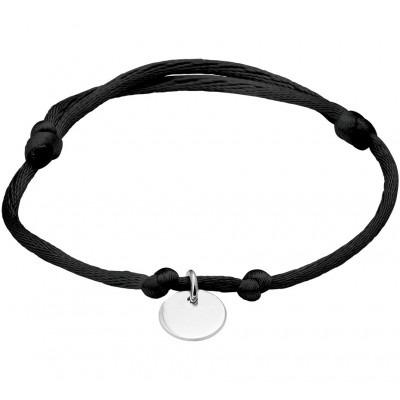 Zwart katoenen armband met zilveren rondje