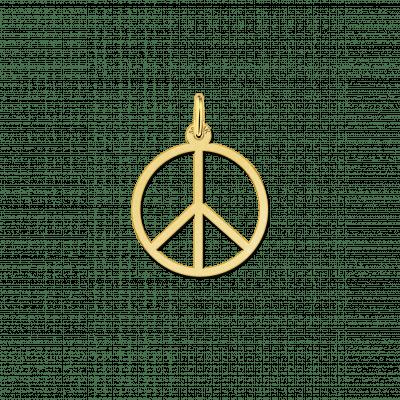 Gouden peace teken hanger