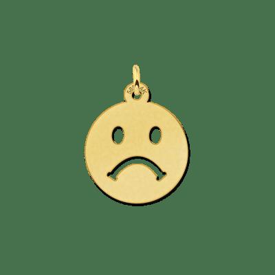 Gouden emoticon hanger verdrietig