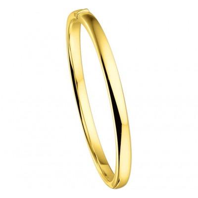 Strakke gouden slavenarmband vlak 5 mm en 60 mm doorsnede