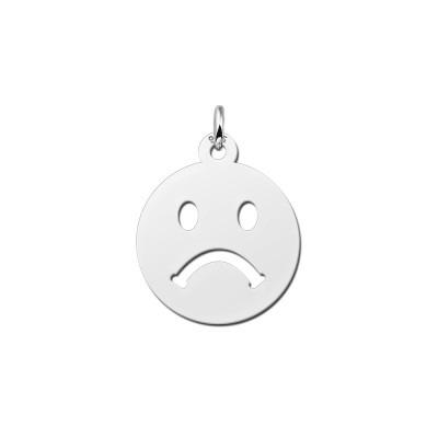 Zilveren emoticon hanger verdrietig