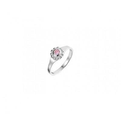 Zilveren kinder ring met roze steen