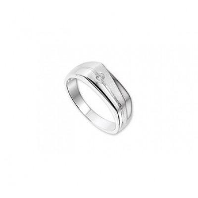 Zilveren mannen ring met steen