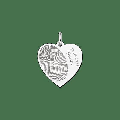 Zilveren vingerafdruk sieraad hart met naam en datum Names4ever