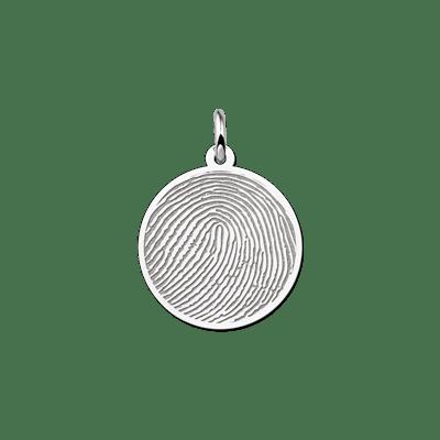 Zilveren vingerafdruk sieraad rond 20 mm Names4ever