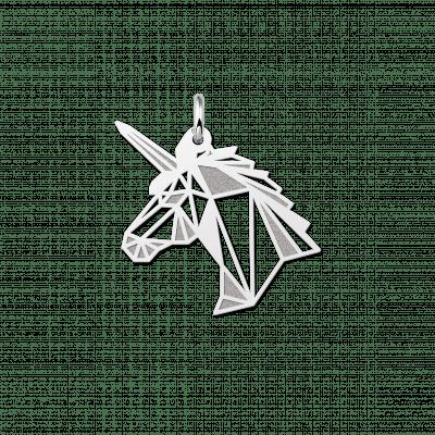 Geometrische hanger van zilver eenhoorn