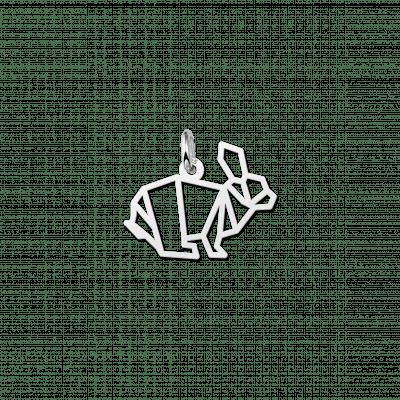 Geometrische hanger van zilver konijn