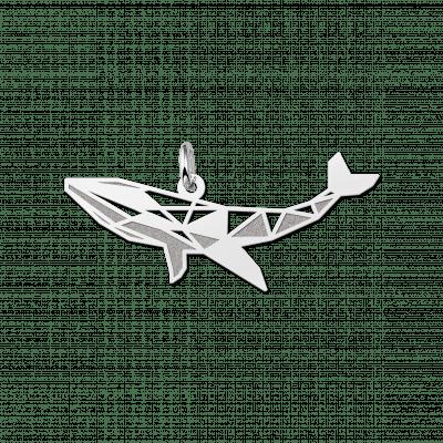 Geometrische hanger van zilver walvis