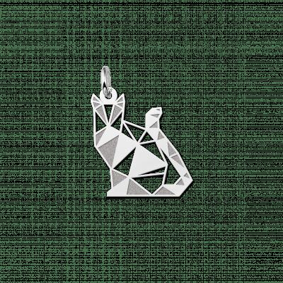 Geometrische hanger zilver poesje