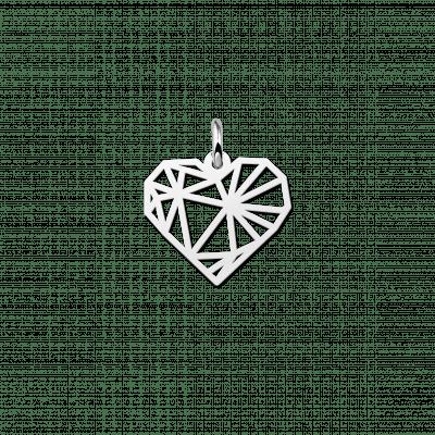 Zilveren geometrische hanger hartje