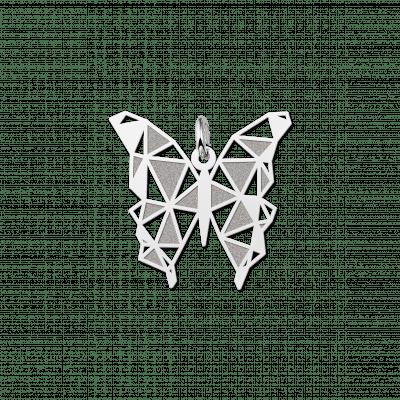Zilveren geometrische hanger vlinder