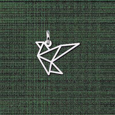 Zilveren geometrische hanger vogel