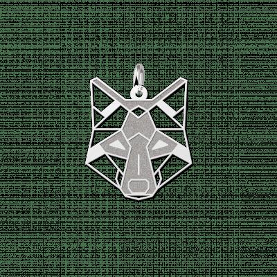 Zilveren geometrische hanger wolf