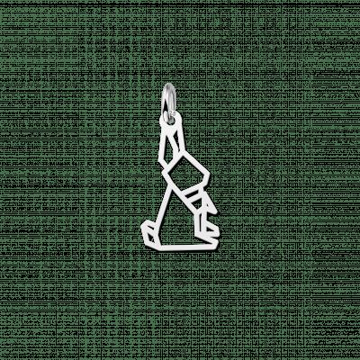 Zilveren geometrische hanger zittend konijn