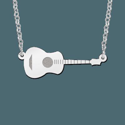 Zilveren gitaar inclusief ketting