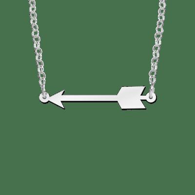 Zilveren pijl hanger aan ketting
