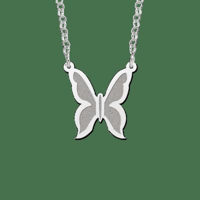 Zilveren vlinder hanger inclusief ketting
