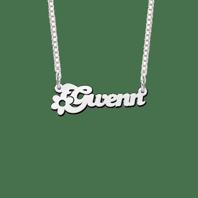 Ketting met naam zilver bloem voorbeeld Gwenn