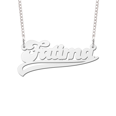 Naamketting van zilver met voorbeeldnaam Fatima