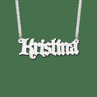 Naamketting van zilver voorbeeld Kristina