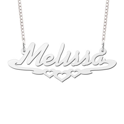 Naamketting zilver met voorbeeld Melissa