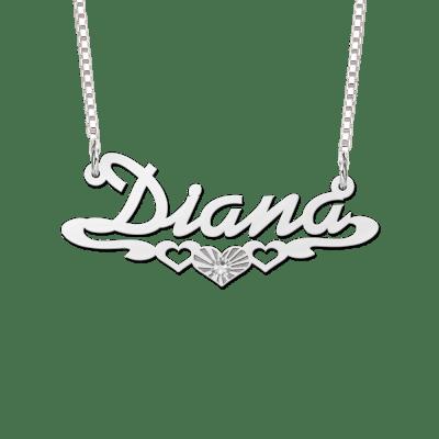 Naamketting zilver met zirkonia voorbeeld Diana