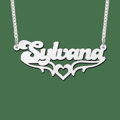 Naamketting zilver vleugels en hartje voorbeeld Sylvana