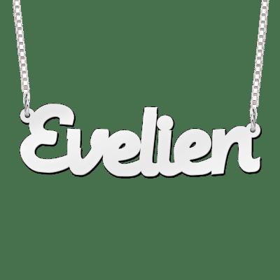 Zilveren naam ketting voorbeeld Evelien