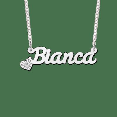 Zilveren naamketting met zirkonia voorbeeld Bianca