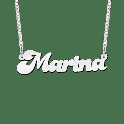 Zilveren naamketting voorbeeld Marina