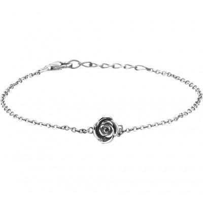 Zilveren armbandje met een zwart geoxideerd roosje
