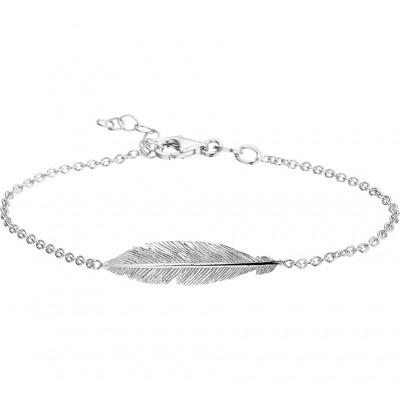 Prachtige zilveren dames armband met veer in het midden