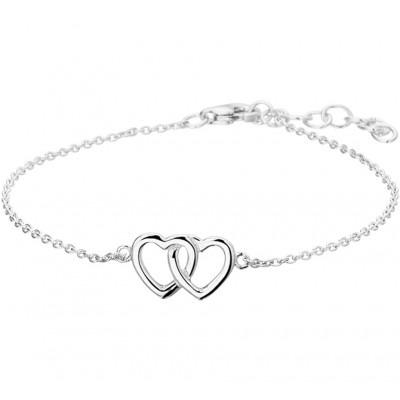 Zilveren hartjes armband met een lengte van 18 cm