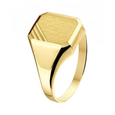 Prachtige gouden zegel ring gematteerd