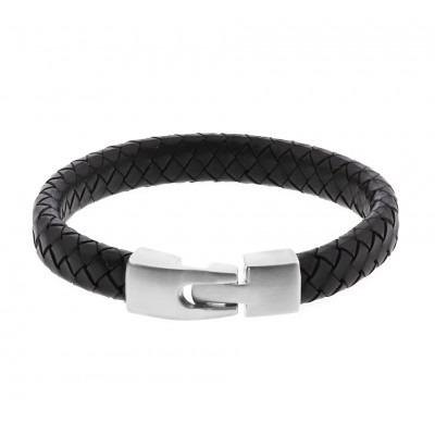 Heren armband van zwart leder en staal 21,5 cm