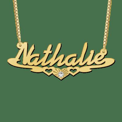 Gouden naam ketting met voorbeeldnaam Nathalie