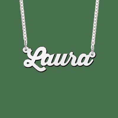 Naamketting van zilver voorbeeld Laura