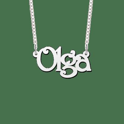 Zilveren naamketting met voorbeeldnaam Olga